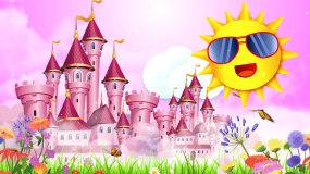粉红梦幻城堡卡通太阳六一儿童节情景剧背景视频素材