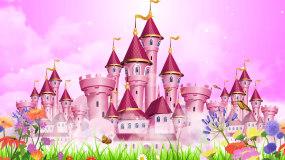 粉红梦幻城堡儿童卡通情景剧舞台背景视频视频素材