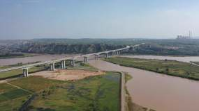 航拍山西忻州河曲黄河大桥_2160p视频素材
