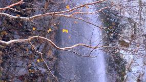 【4K】唯美金秋瀑布红叶枫树林美景视频素材