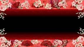 中国风花纹与扇子通道舞台背景视频素材