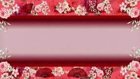 中国风花纹与扇子舞台背景视频素材