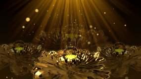 4K华丽中国风金色牡丹粒子背景视频素材