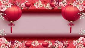 中国风花纹与灯笼舞台背景视频素材