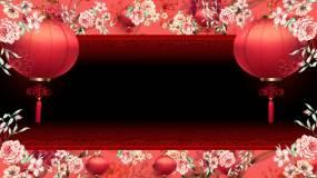 中国风花纹与灯笼通道舞台背景视频素材