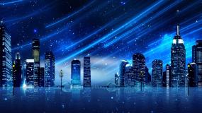 蓝色星空流星雨城市背景视频视频素材