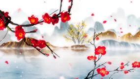 红梅赞梅花赞中国风山水风景背景视频素材