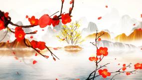 梅花赞红梅赞古典山水风景背景视频素材