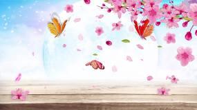 唯美粉红樱花梦幻花瓣飘落背景视频视频素材