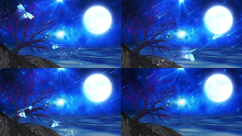 梦幻星空湖面流星雨大树蝴蝶飞舞LED背景