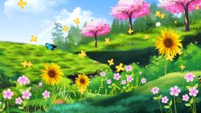 绿色夏日清新风景春天气息背景视频素材
