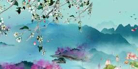 中国风水墨山水(店内有配套素材)视频素材