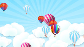 卡通云朵飘飘卡通热气球太阳儿童表演背景视频素材