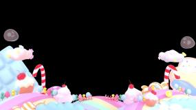 卡通糖果屋前景框(alpha通道)视频素材