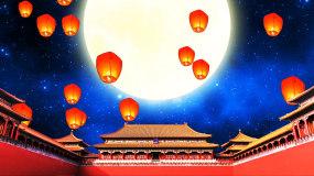中国风故宫古建筑大月亮孔明灯LED背景视视频素材