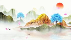 水墨中国风山水意境古典风景背景视频素材