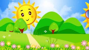唯美蓝天白云卡通太阳森林蝴蝶光影LED视视频素材