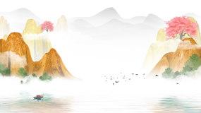 中国风江南水乡古风山水LED背景视频素材