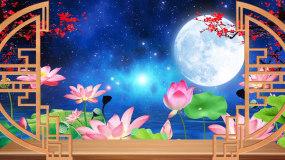 梦幻星空月亮粒子水面荷花LED背景视频_视频素材