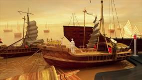 CG三维模型古代码头动画展示02视频素材