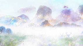 水墨古风山水画云雾缭绕LED视频视频素材