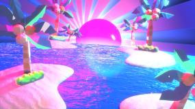 霓虹热带岛屿舞台背景视频素材
