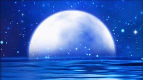 海面月亮星空背景视频素材