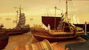 CG三维模型古代码头动画展示(完整版)视频素材
