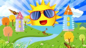 卡通幼儿大风车太阳六一儿童节LED背景视视频素材
