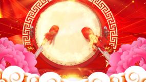 喜庆节日锣鼓牡丹舞台开场背景视频素材