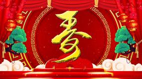 红色喜庆祝寿老人祝寿宴LED背景视频_0视频素材