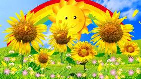 唯美蓝天白云大自然向日葵LED背景视频_视频素材