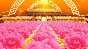 震撼大气皇宫牡丹舞台晚会开场背景视频素材