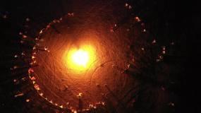 航拍沙漠篝火晚会视频素材