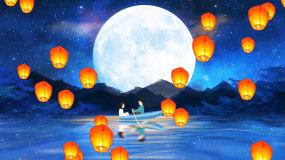 唯美梦幻月亮星空情人节热气球LED背景视视频素材