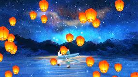 唯美梦幻星空情人节热气球LED背景视频视频素材
