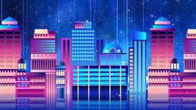 蓝色星空城市走屏抒情背景视频素材