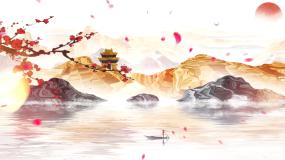 中国风山水意境水墨背景视频视频素材