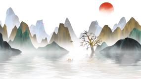 渔舟唱晚水墨中国风背景视频视频素材
