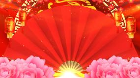 红色喜庆扇子牡丹灯笼戏曲曲艺背景视频素材
