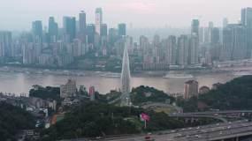 重庆东水门大桥与渝中半岛航拍视频素材