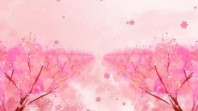 唯美粉红桃林桃花樱花飘落LED视频视频素材