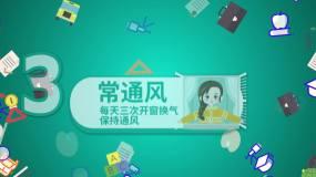 中小学校园开学复学防疫卫生指南动画AE模板