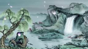 中国风水墨画led屏背景视频素材