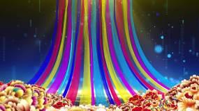 奢华牡丹彩绸飘舞粒子背景无缝循环视频素材