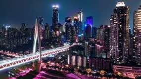 航拍重庆东水门新涂装灯光秀渝中半岛视频素材