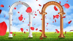 梦幻欧式拱门婚礼花瓣飘落LED背景视频素材