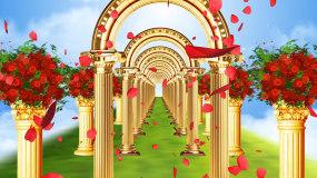梦幻欧式金色拱门穿梭婚礼花瓣飘落背景视频素材