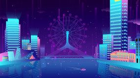 梦幻唯美城市走屏摩天轮LED背景视频素材