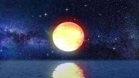 月亮水面升起视频素材